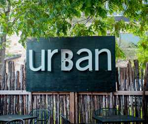 Urban sign on the back patio